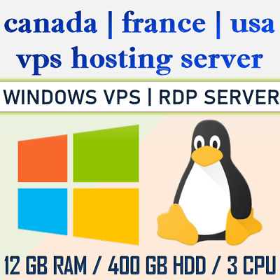 Windows Server Linux Server, Multiple VPS Server Location- 12 GB RAM, 400 GB HDD