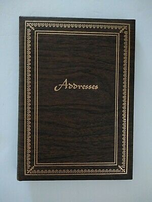 Vintage Padded Telephone Address Phone Book/Binder A-Z Index USA Wood/GoldFoiled
