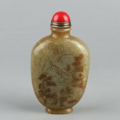 Chinese Exquisite Hand carved landscape carving Hetian jade snuff bottle