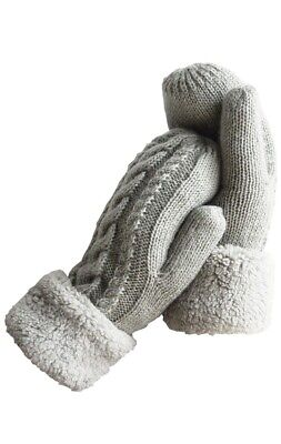 Winter Gloves Warm Lining Mittens Cozy Wool Knit Thick Gloves Mittens