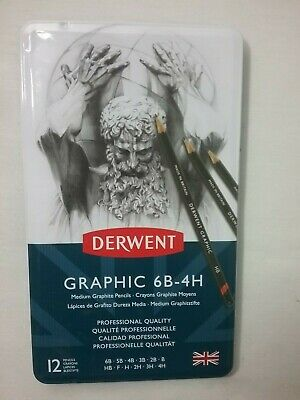 BRAND NEW Derwent Graphic 6B-4H 12 Medium Graphite - BRAND NEW
