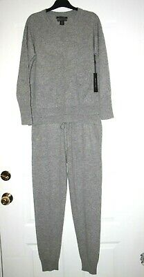 TAHARI Pure Luxe 100% Cashmere Casual Lounge Pants Set / Pajama in Grey  sz S