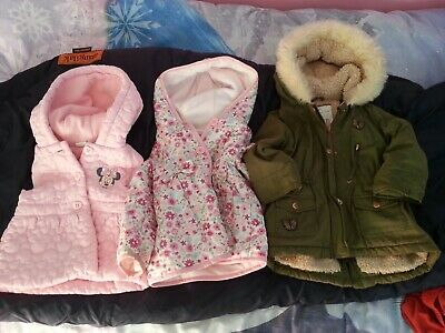 3 x Girls Coat Jacket Bundle 18-24 month 1.5 year to 2 year old Summer Winter