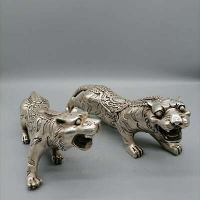 Collect China Qing Dynasty Paktong King of Forest Golden Calf Tiger Pair Statue