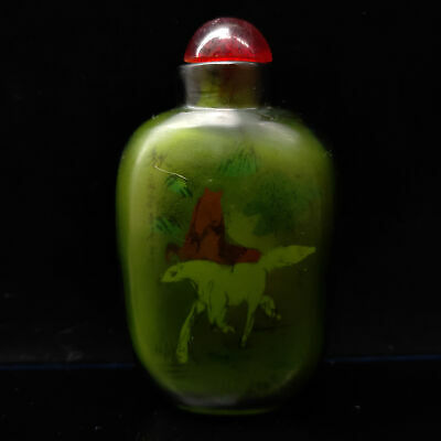 Chinese Exquisite Handmade Man riding a horse pattern glass snuff bottle    S572