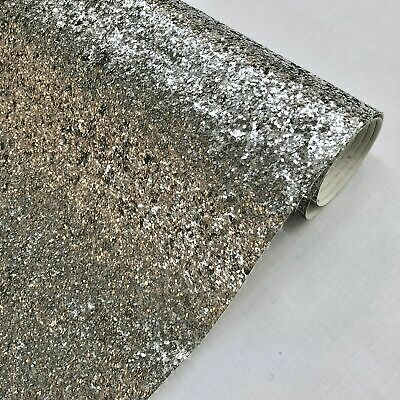 """Black Chunky Glitter Fabric Sparkly Vinyl Taped Backed Material Decor Walls 54/"""""""