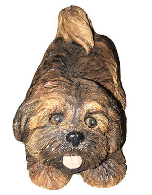 SANDICAST by Sandra Brue LHASA APSO Brown Pup ~ Clay Dog Sculpture ~ Collectible