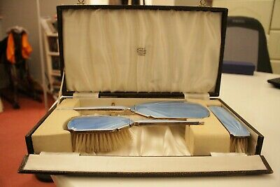 Deco 1930's Hallmarked Silver and Blue Guilloche  Dressing Table Set boxed