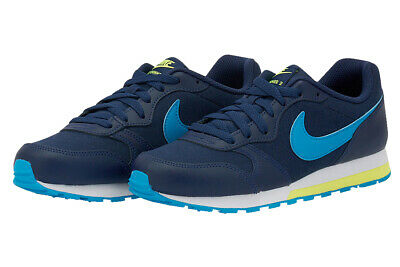 Unisex Kids Boys Girls NIKE MD RUNNER 2 (GS) Navy Lace-Up Trainers, 807316-415
