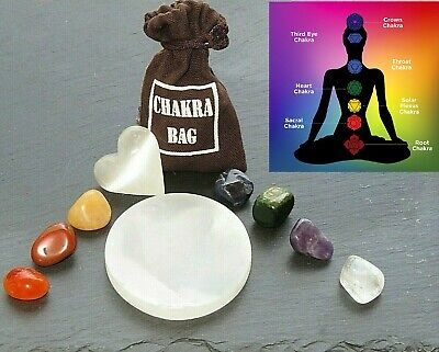 7 Chakra  Healing Set 7 Tumbled Stones, Selenite Heart,Plate and  Carry Pouch
