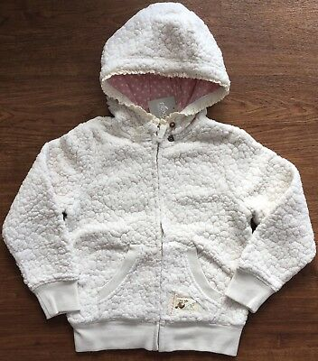 Bnwt Next Cream Textured Fleece Zip Through Hoody, Size 5-6 Years