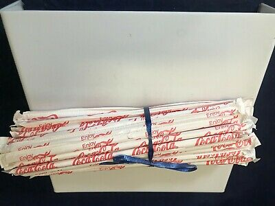 Coca Cola Drinking Straws wrapped in paper vintage 1970 lot of 50 Coca Cola NOS
