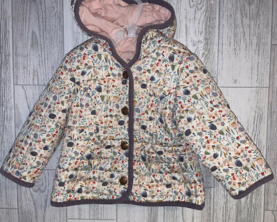 Girls Age 9-12 Months - M&S Quilted Pretty Floral Coat