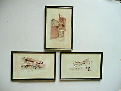 Trio of Framed Vintage Watercolours of Hull historic buildings by C Armstrong