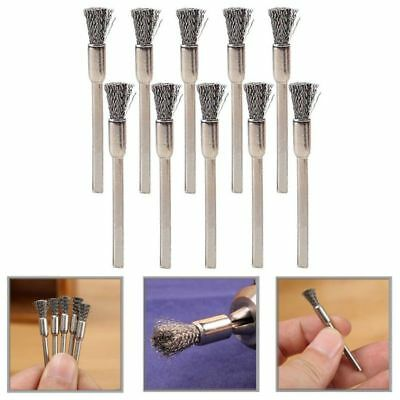 10pc Rotary Steel Wire Wheel Brush Cup Tool Shank for Dremel Drill Rust Weld