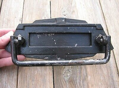 Old Rare Metal Art Deco Letter Box Plate / Door Mail Slot Mailbox with Knocker