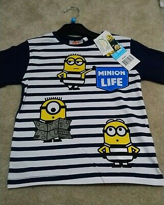 KIDS Despicable Me Minions Movie Surprised Minion Face T Shirt Ages 3-4 to 12-14