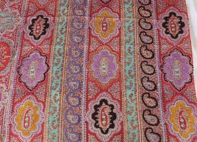 Antique French Block Printed Paisley Medallion Wool Chalis Fabric~Reserved