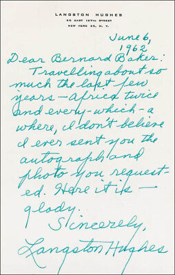 Langston Hughes - Autograph Letter Signed 06/06/1962