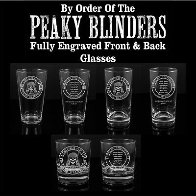 Peaky Blinders Shelby Bros, Engraved Glasses - FREE UK Post