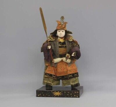 "Antique Japanese Young Armed Samurai Large Doll 20"" Edo Era"