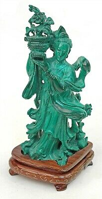 Vintage Chinese Malachite Carving on Wire Inlaid Stand
