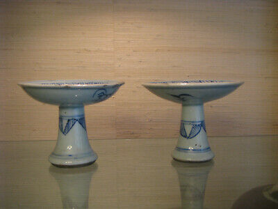 Two Chinese Antique Blue & White Stem Cups or Tazzas