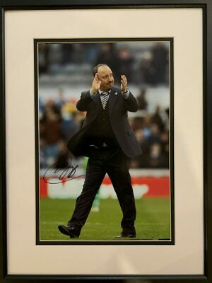Signed Framed Rafa Benitez Newcastle United Autograph Photo Liverpool Valencia