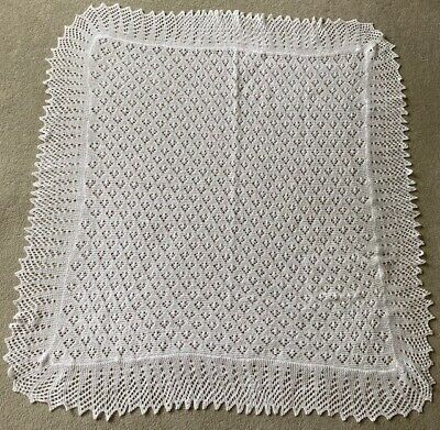 Hand Knitted Cobweb Lace Baby Shawl Blanket 2 ply Antique White
