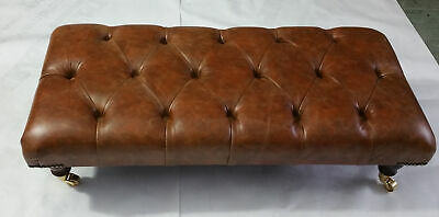 90 x 46 cm Rectangular Chesterfield Footstool Table 100% Vintage Tan Leather