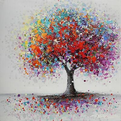 Colorful Tree Abstract Canvas Print Oil Painting Picture Framed Home Decor UK