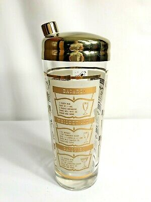 """Vintage Cocktail Shaker Mixer Mid Century Glass Drink Mixer with Recipes 9"""" Gold"""