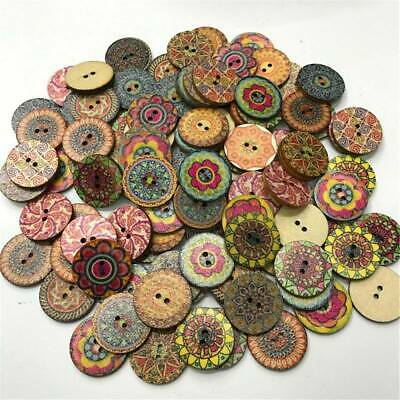 Lot 100x Vintage Wooden Buttons Round 2-Holes Sewing Scrapbooking DIY 15/20/25mm