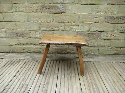 18Th Century Fruitwood Milking Stool-One Piece Top & 4 Flaring Turned Supports