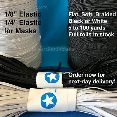 1/8 inch Flat Elastic for Sewing Masks. Black and White. Limited Quantities.