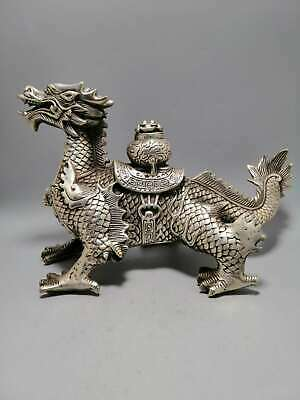 Collect China Paktong Fengshui Zodiac Animal Dragon Treasure Bowl Wealth Statue