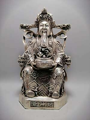 Collect China Qing Dynasty Paktong Mammon Money Wealth God Treasure Bowl Statue