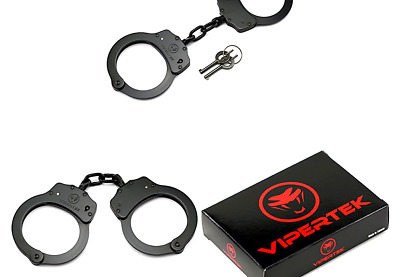 VIPERTEK Double Lock Steel Police Edition Professional Grade Handcuffs (Black)
