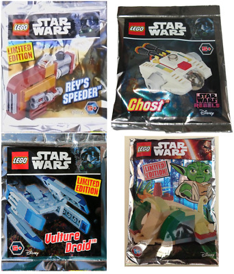 NEW LEGO Lot 4x Polybag /Foil Pack STAR WARS, Reys, Vulture, Ghost, Yoda Hut