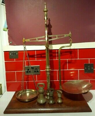 Antique brass beam balance scales by Parnall & Sons, Bristol