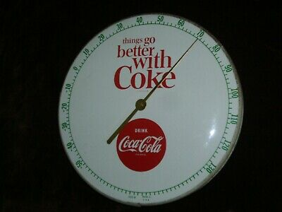 Vtg Original Things Go Better With Coke Coca Cola Pam Glass Thermometer Sign