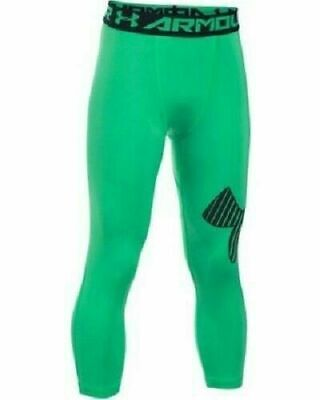 UNDER ARMOUR Girls Green & Black 3/4 Heatgear Logo Leggings 11-12 Years BNWT