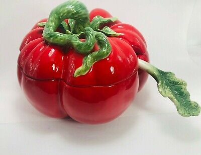 Hand Painted Kaldun & Bogle Ceramic Tomato Soup Tureen w/ Lid and Ladle