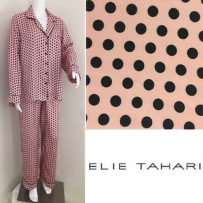 TAHARI Pajama Set Size XL Satin Long Pants Top & Bottom Cotton Pink Black Dots