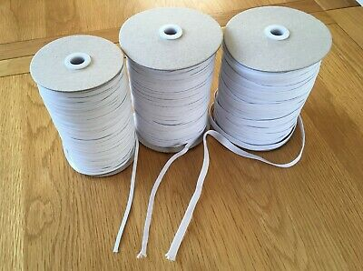 White Corded Elastic, 5mm, 6mm, 10mm, 12mm, 13mm wide