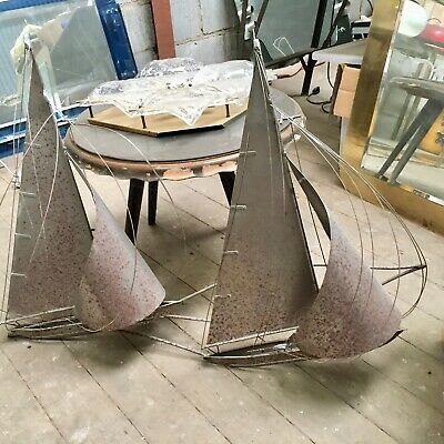 Curtis Jere Sailing Boats Metal Wall Sculpture 70s Brutalist Abstract