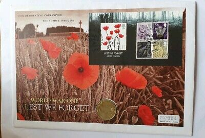 2006 Battle of the Somme 90th Anniversary  Commemorative poppy cover £2 Dove.