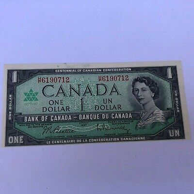 1967 Canada one Dollar Banknote. Error out of Center Bill. Uncirculated.