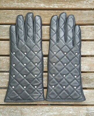 Gloves 100% Lambskin Leather Size 7 Ladies with Rhinestones Black Quilted Luxury