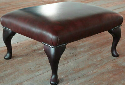 Chesterfield Deep Cushioned Footstool 100% Antique Red Leather